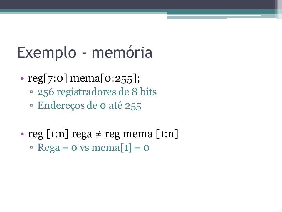 Exemplo - memória reg[7:0] mema[0:255];